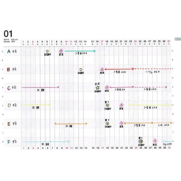 【公式】限定表紙 Alice Gold(アナログママ)analogmama 受験スケジュール帳 <2022年受験用> A5 受験 手帳 スケジュール帳  携帯 受験手帳|analogmama777|07