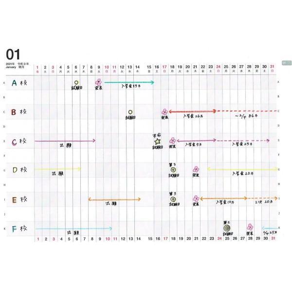 【公式】限定表紙 Loveletter(アナログママ)analogmama 受験スケジュール帳 <2022年受験用> A5 受験 手帳 スケジュール帳  携帯 受験手帳|analogmama777|07