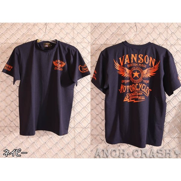 当店別注!VANSON バンソン 新作 吸汗速乾 ドライ半袖Tシャツ ACV-901 スタンダードサイズ|anch-crash|11