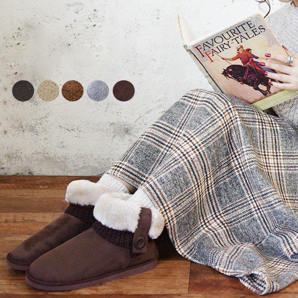 ムートンブーツ ショートブーツ ボア あったか 靴 レディースシューズバッグ・帽子・ファッション小物:シューズ:裏ボア