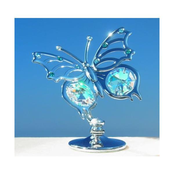 オーロラ 蝶 置物 インテリア 雑貨 ギフト スワロフスキー クリスタル 誕生日 プレゼント 女性 お祝い 記念日 置き物