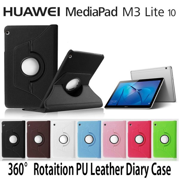 MediaPad M3 lite 10 ケース 手帳型 360回転式 カバー スタンド PU レザー 10.1 耐衝撃 2017 ダイアリー Wi-Fiモデル BAH-W09B BAH-W09 BAH-L09