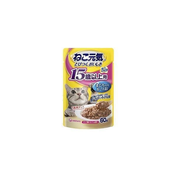 ユニチャームねこ元気パウチ総合栄養食15歳以上用まぐろ入りかつお60g× 12個