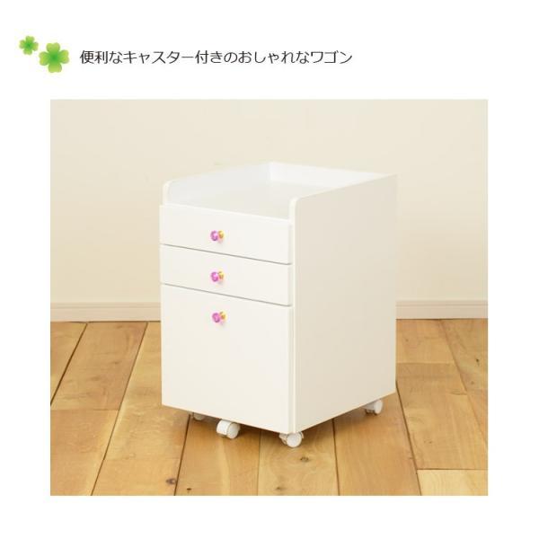 学習机 3点セット シンプル かわいい 白 ホワイト ブラウン ピンク パープル ハート システムデスク デスク ワゴン 書棚 組替え 子供部屋家具|aneinn|13