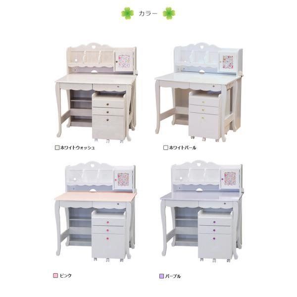 学習机 3点セット シンプル かわいい 白 ホワイト ブラウン ピンク パープル ハート システムデスク デスク ワゴン 書棚 組替え 子供部屋家具|aneinn|18