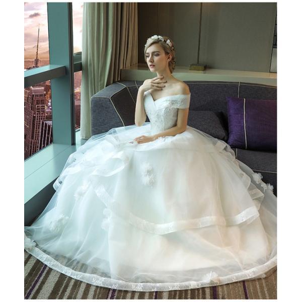 ウェディングドレス 二次会 ウエディングドレス ロング 二次会ドレス パーティードレス ロングドレス 花嫁ドレス カラードレス 大きいサイズ 結婚式 白 ホワイト|anemo|02