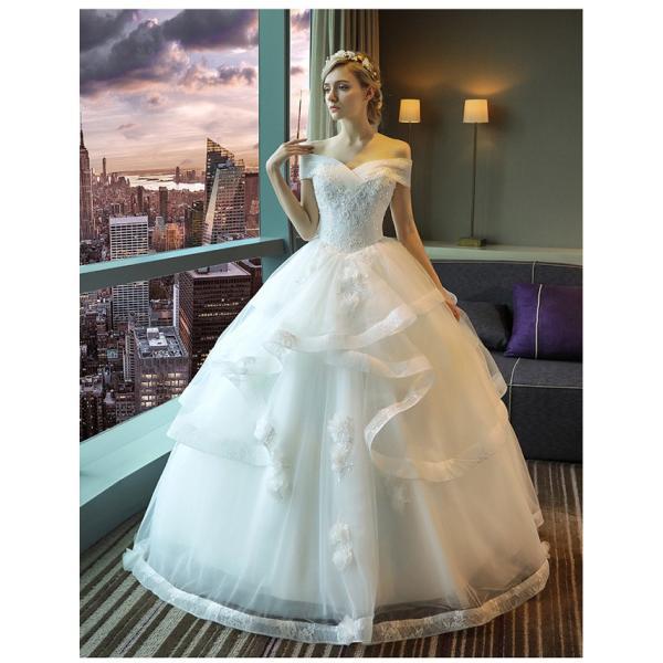 ウェディングドレス 二次会 ウエディングドレス ロング 二次会ドレス パーティードレス ロングドレス 花嫁ドレス カラードレス 大きいサイズ 結婚式 白 ホワイト|anemo|03