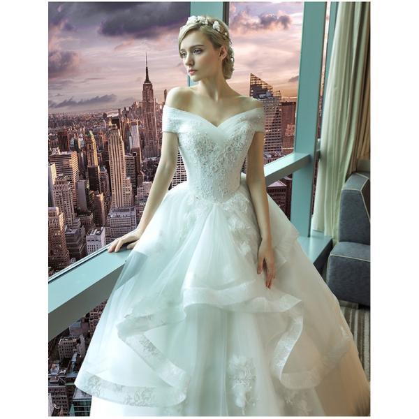 ウェディングドレス 二次会 ウエディングドレス ロング 二次会ドレス パーティードレス ロングドレス 花嫁ドレス カラードレス 大きいサイズ 結婚式 白 ホワイト|anemo|04