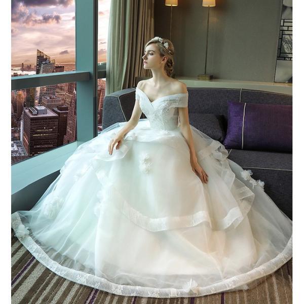 ウェディングドレス 二次会 ウエディングドレス ロング 二次会ドレス パーティードレス ロングドレス 花嫁ドレス カラードレス 大きいサイズ 結婚式 白 ホワイト|anemo|05