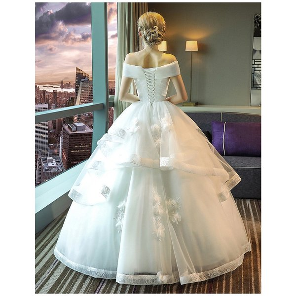 ウェディングドレス 二次会 ウエディングドレス ロング 二次会ドレス パーティードレス ロングドレス 花嫁ドレス カラードレス 大きいサイズ 結婚式 白 ホワイト|anemo|07