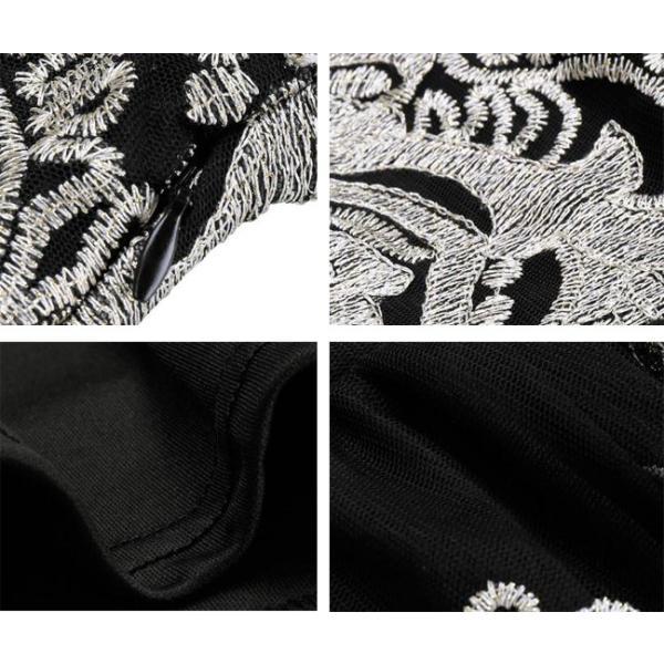 5color!パーティードレス フレア ブライズメイド 膝丈 結婚式ドレス お呼ばれ ワンピース 二次会  レース  エレガント|anemo|09