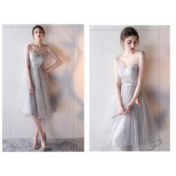 パーティードレス ブライズメイドドレス ドレス ミモレ 結婚式 お呼ばれ ワンピース 二次会 袖あり 透け感 魅力 大きいサイズ 同窓会 フォーマル|anemo|11