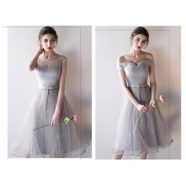 パーティードレス ブライズメイドドレス ドレス ミモレ 結婚式 お呼ばれ ワンピース 二次会 袖あり 透け感 魅力 大きいサイズ 同窓会 フォーマル|anemo|10