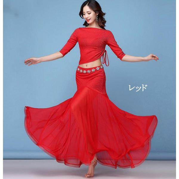 ベリーダンス衣装  レディース アラビアン衣装 アラジン スパンコール アラジンコス コスプレ 大人用 ダンス衣装 2点セット トップ 上下セット スカート|anemo|04