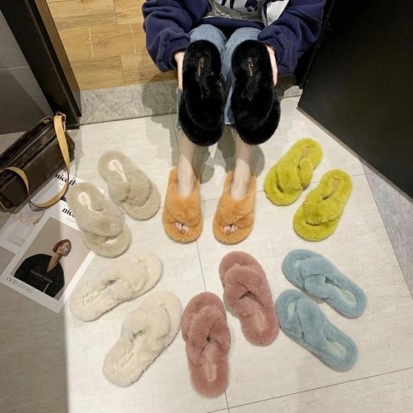 サンダルスリッパレディース靴レディーススリッパかわいいファーサンダルファースリッパ無地可愛いふわもこフラットシューズフラットシュ