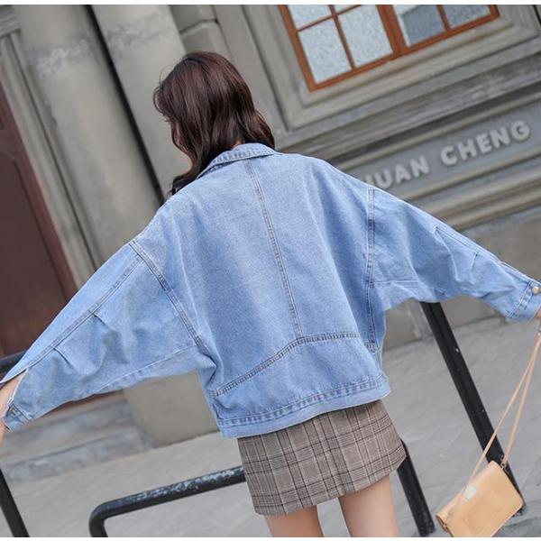 レディース ジャケット デニム デニムコート 大きいサイズ ロング丈 ゆったり 通勤 コート アウター 送料無料|anemo|13
