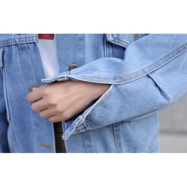 レディース ジャケット デニム デニムコート 大きいサイズ ロング丈 ゆったり 通勤 コート アウター 送料無料|anemo|14