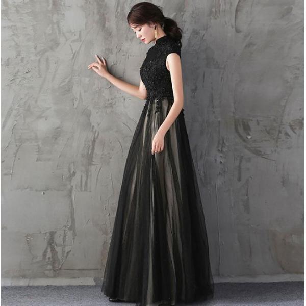ドレス 結婚式 パーティードレス 袖なし 立ち襟 ロングドレス マキシ丈 膝丈 大きいサイズ パーティドレス ブライズメイド 二次会 発表会 お呼ばれ 着痩せ|anemo|04