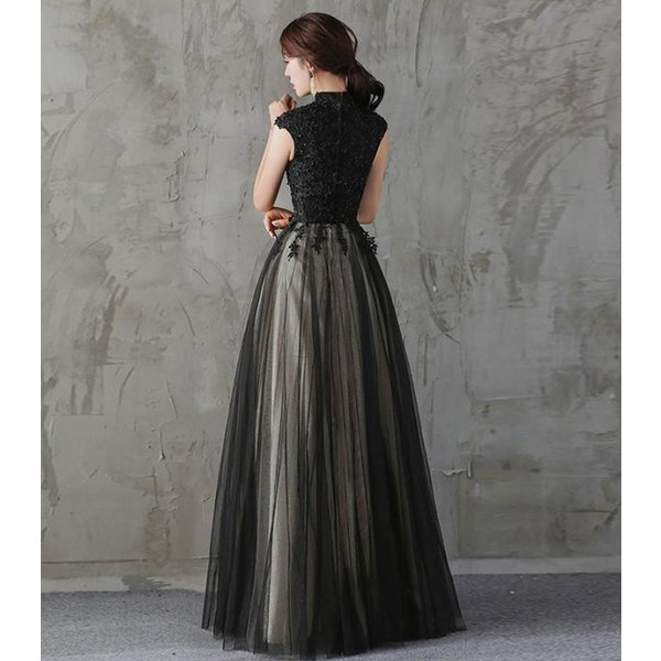 ドレス 結婚式 パーティードレス 袖なし 立ち襟 ロングドレス マキシ丈 膝丈 大きいサイズ パーティドレス ブライズメイド 二次会 発表会 お呼ばれ 着痩せ|anemo|06