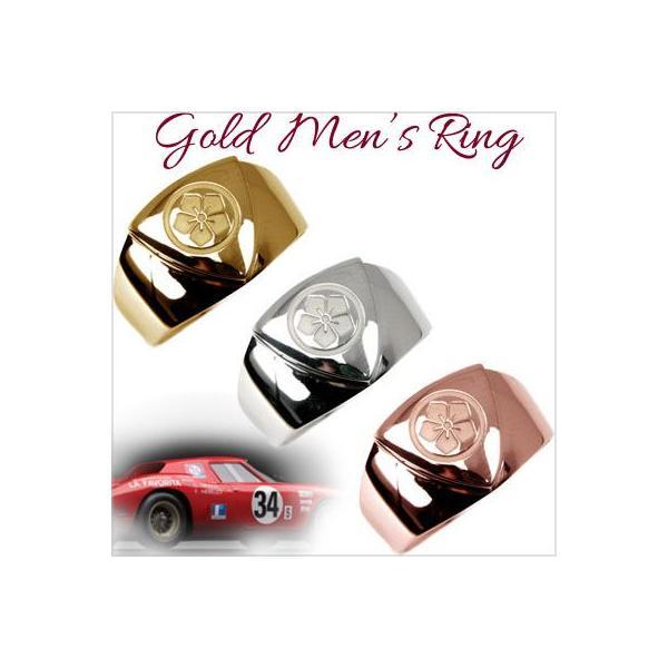 メンズリング 人気 18金 指輪 18K ゴールド 印台 カレッジリング 家紋 梵字 レーザー 彫刻 刻印 文字入れ オーダー 手作り メンズ リング 男性用