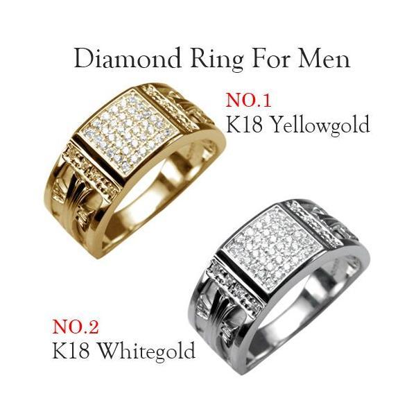 メンズリング 人気 ダイヤモンド 18金 指輪  クロス 印台 カレッジリング 18K ゴールド メンズ リング 男性用