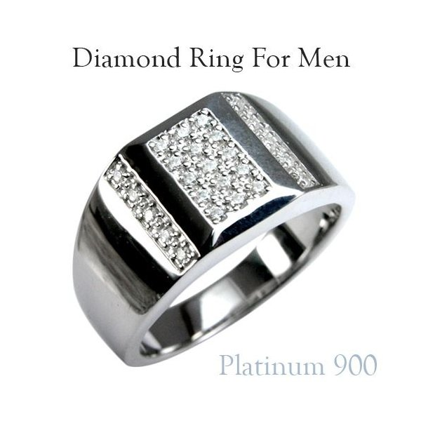 メンズリング 人気 ダイヤモンド プラチナ リング 指輪  印台 カレッジリング メンズ リング 男性用