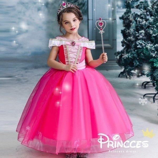 1fade30c8966a クリスマス ディズニープリンセス ドレス 衣装 子供 アナ雪 オーロラ姫 ディズニー プリンセス ピンク 110 120 130 ...