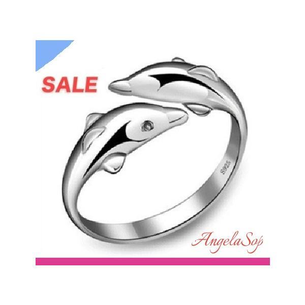 指輪 レディース リング シルバー925 イルカ ハワイアン 海 サイズフリー アレルギー|angela-web