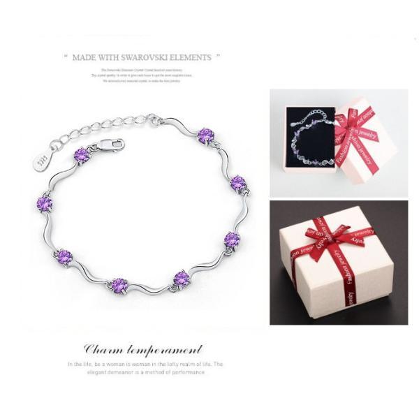 ブレスレット レディース プレゼント シルバー925 箱入り 可愛い天使 紫CZダイヤモンド 記念日 送料無料