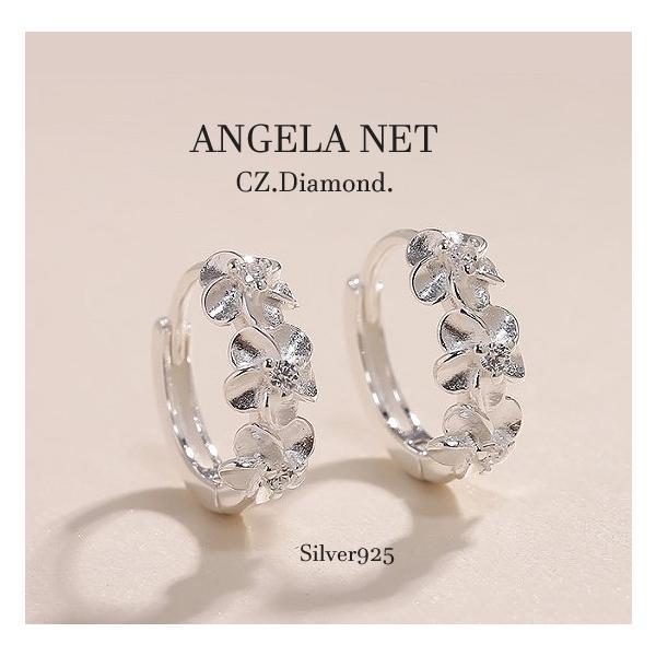 ピアス CZダイヤモンド シルバー925 フープ リングハワイアンピアス  中折れタイプ  シルバー 銀針925  送料無料