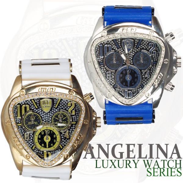 メンズ ICE nation へレーネラグジュアリー腕時計 逆三角形ブリンブリンラメ クロノグラフラバーベルトウォッチ とけいロレックス ハミルトン 好きにも|angelina