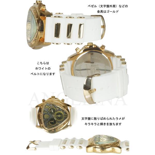 メンズ ICE nation へレーネラグジュアリー腕時計 逆三角形ブリンブリンラメ クロノグラフラバーベルトウォッチ とけいロレックス ハミルトン 好きにも|angelina|03
