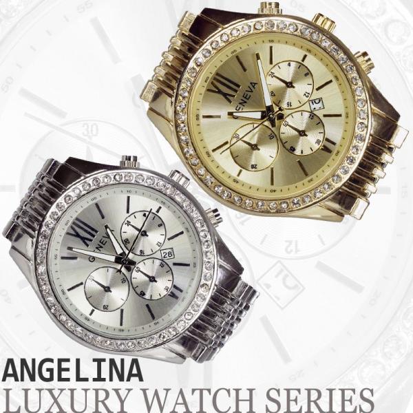 GENEVA 男性用メンズ腕時計 モニカ Mens  クロノグラフ メタル ウォッチ ジェネバ うでどけい ロレックス マークバイマークジェイコブス好きにも angelina