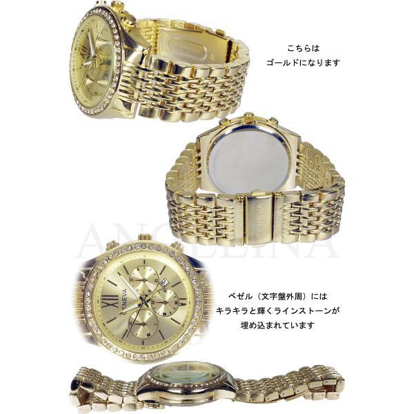 GENEVA 男性用メンズ腕時計 モニカ Mens  クロノグラフ メタル ウォッチ ジェネバ うでどけい ロレックス マークバイマークジェイコブス好きにも angelina 02