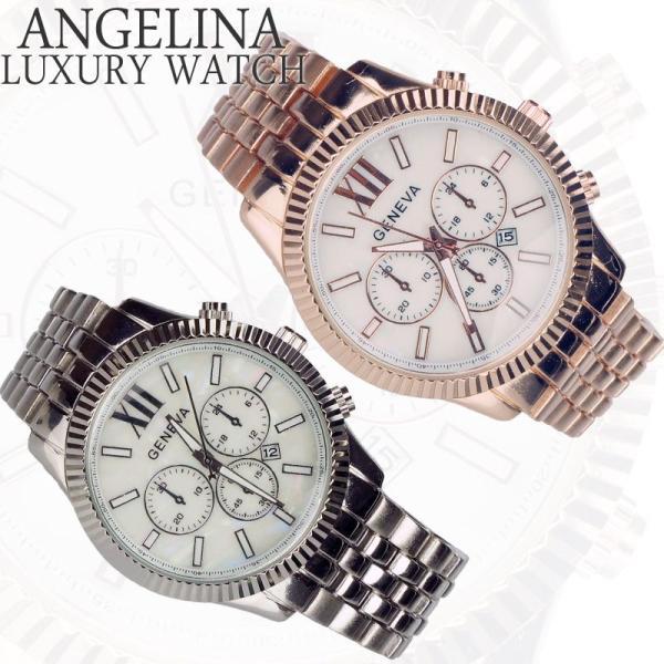 メンズ腕時計 Mens GENEVA スパニエル クロノグラフ メタルウォッチ アナログクォーツ 電池式 ビジネス紳士 ロレックス デイトナー セイコー好きにも|angelina