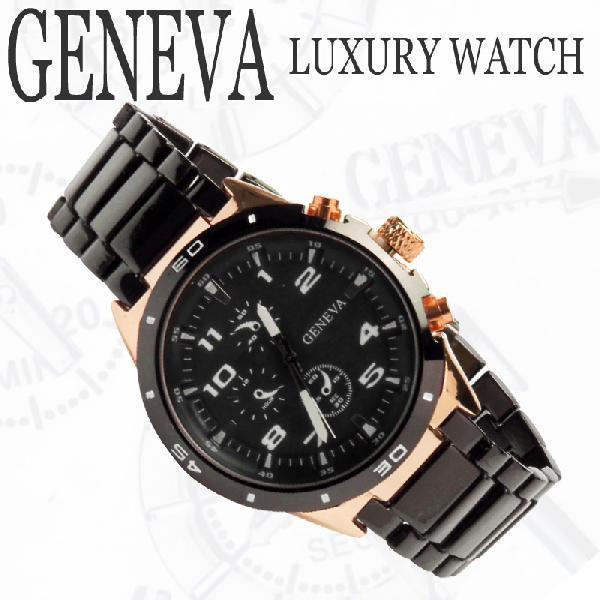 ロックス GENEVAラグジュアリー腕時計  ブラックxピンクゴールドクロノグラフ メタルウォッチ(電池式腕時計 アナログクォーツ Mens腕時計ブリンブリン|angelina