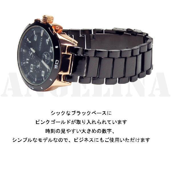 ロックス GENEVAラグジュアリー腕時計  ブラックxピンクゴールドクロノグラフ メタルウォッチ(電池式腕時計 アナログクォーツ Mens腕時計ブリンブリン|angelina|02