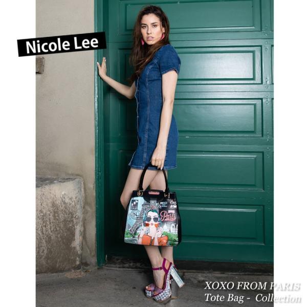 2019SS新作  数量限定!NICOLE LEE ニコールリー XOX14056 XOXO FROM PARIS レディースクラシカルレザーイラストハンドバッグ