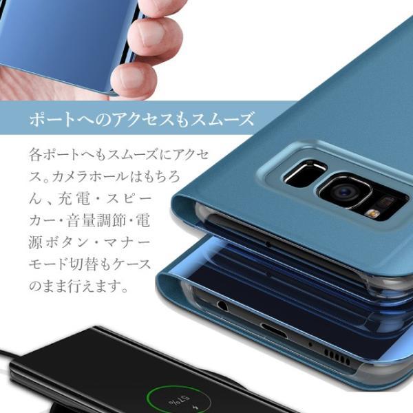 Galaxy S8 手帳型 ケース ギャラクシー S8 ケース カバー 透明 クリア シンプル 無地|angelique-girlish|05