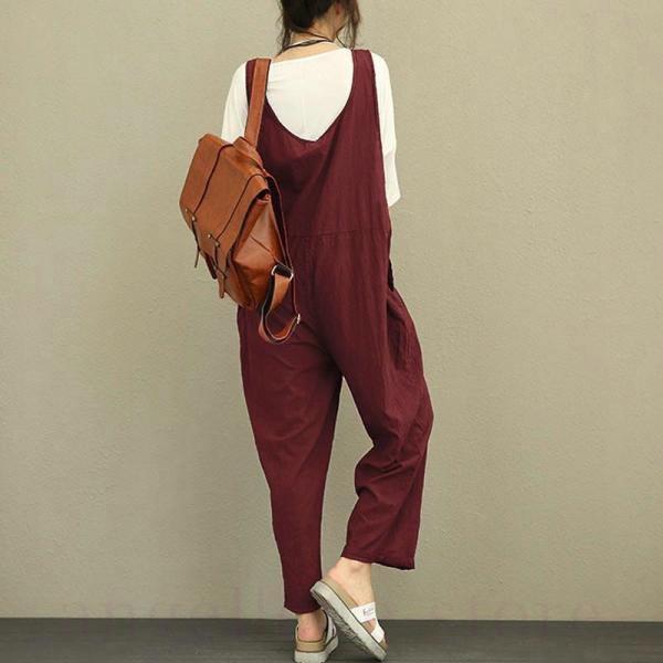 サロペット パンツ レディース ボトムス オールインワン バックパンツ ワイドパンツ オーバーオール 体型カバー ロング丈 大きいサイズ 無地 ゆったり 妊婦服|angellove-store|10