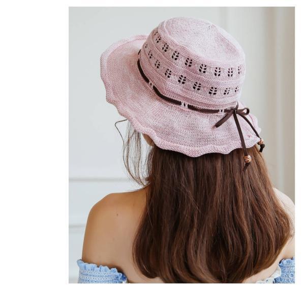 帽子 レディース ハット つばあり 折りたたみ 可能 リボン付き ワイヤー入り 日よけ 夏 旅行 コットン リゾート 散歩 日焼け対策 ピンク ベージュ  メール便y|angelluna|14