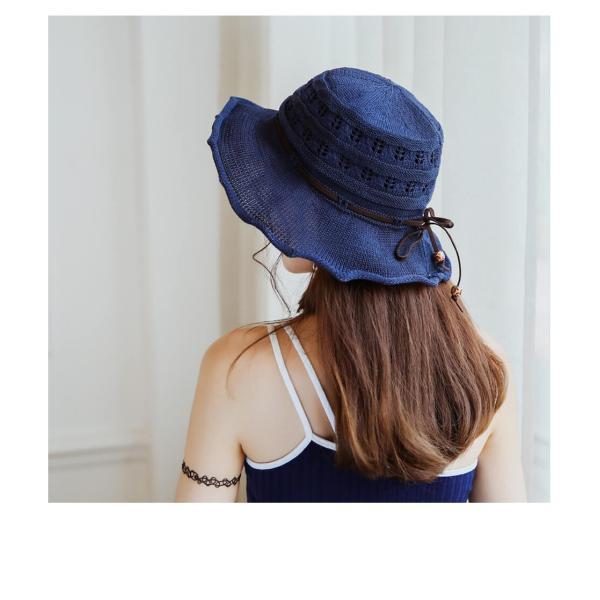 帽子 レディース ハット つばあり 折りたたみ 可能 リボン付き ワイヤー入り 日よけ 夏 旅行 コットン リゾート 散歩 日焼け対策 ピンク ベージュ  メール便y|angelluna|18
