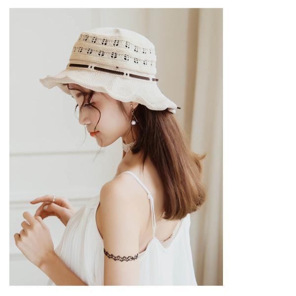 帽子 レディース ハット つばあり 折りたたみ 可能 リボン付き ワイヤー入り 日よけ 夏 旅行 コットン リゾート 散歩 日焼け対策 ピンク ベージュ  メール便y|angelluna|09