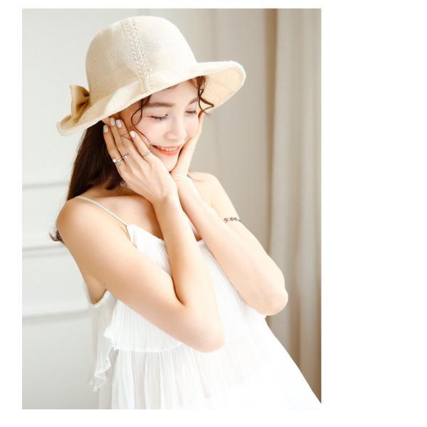 帽子 レディース ハット つばあり 折りたたみ 可能 シンプル リボン有 ワイヤー入り チューリップハット 夏 旅行 コットン 素材 リゾート  メール便y|angelluna|17