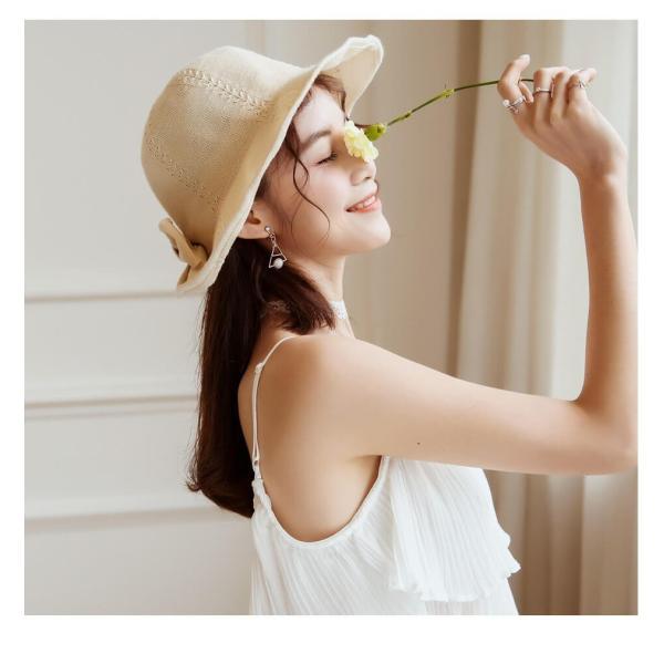 帽子 レディース ハット つばあり 折りたたみ 可能 シンプル リボン有 ワイヤー入り チューリップハット 夏 旅行 コットン 素材 リゾート  メール便y|angelluna|18
