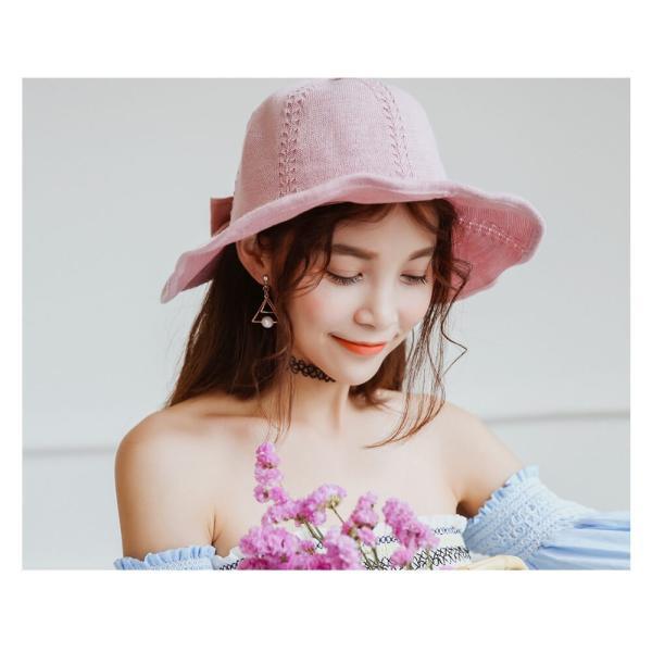 帽子 レディース ハット つばあり 折りたたみ 可能 シンプル リボン有 ワイヤー入り チューリップハット 夏 旅行 コットン 素材 リゾート  メール便y|angelluna|10
