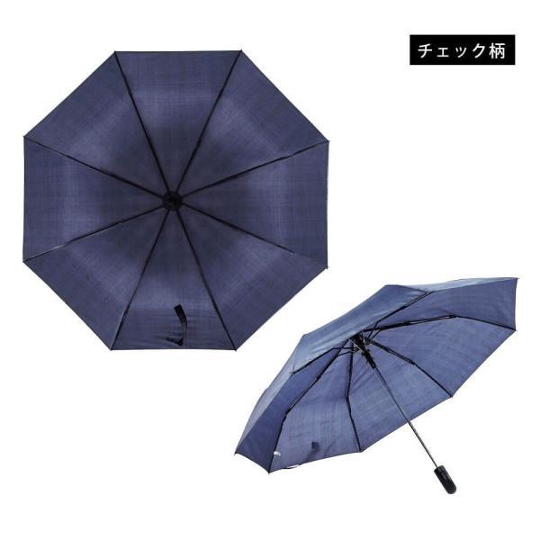 折りたたみ傘 紳士 雨傘 三つ折り 自動オープン ボタン付き 直径97cm 大きめサイズ 8本骨 耐風仕様 宅配便t|angelluna|09