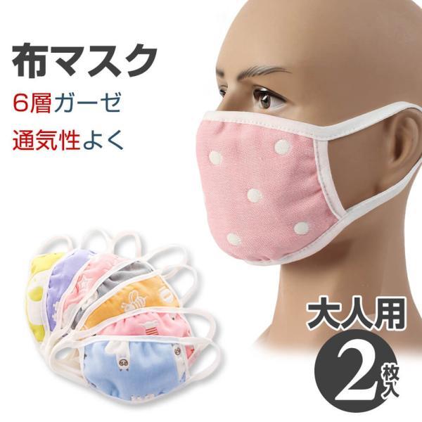 【4月下旬予約】マスク 洗える 大人用 2枚セット 布 6層ガーゼ マスク 防寒 痛くなりにくい メール便y|angelluna