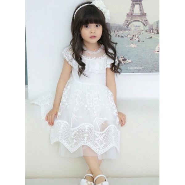 e20cdbe6958ec ... 子供ドレス ワンピース Emily(White) Saut de L ange パーティー、発表会 ...