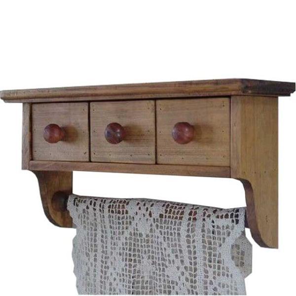 タオルハンガー ボックス引き出し アンティークブラウン w35d10h18cm シェルフ 木製 ひのき 受注製作